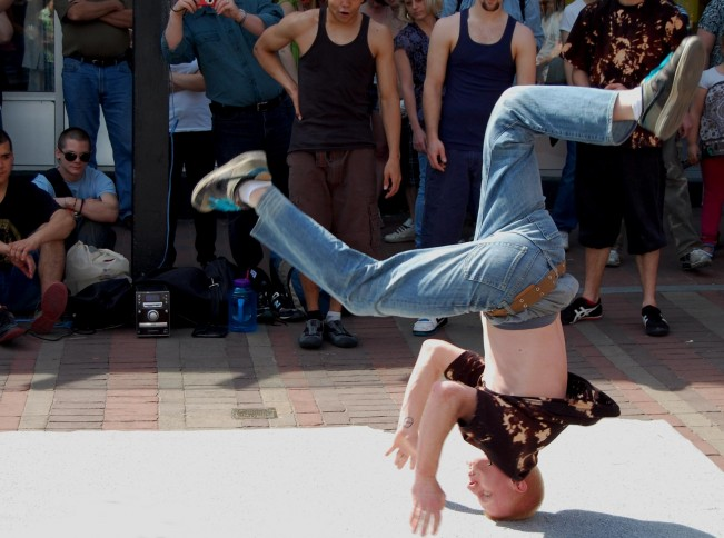 breakdancing street performer