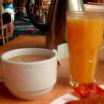 Coffee and OJ at the Flamingo's breakfast buffet