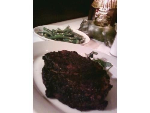 Sauted green beans and cajun ribeye