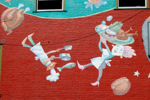 Mural on building housing Daily Planet