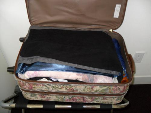 Packed carry on suitcase