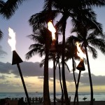 The Kuhio Beach Torch Lighting Ceremony